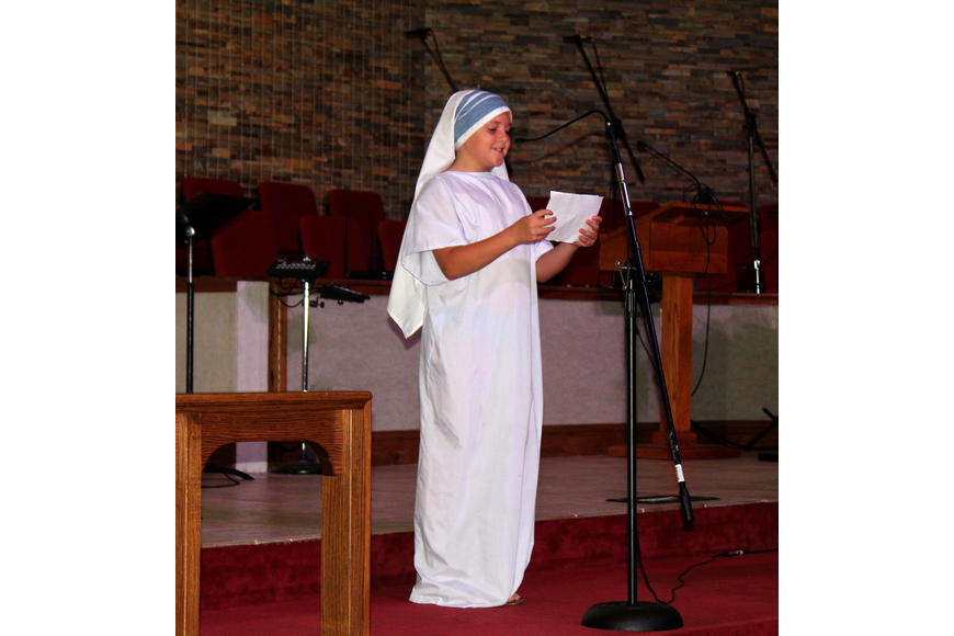 Abigail Fulghum portrayed Mother Teresa at the Great Kids'   Heroes event. Photo by Jacque Estes