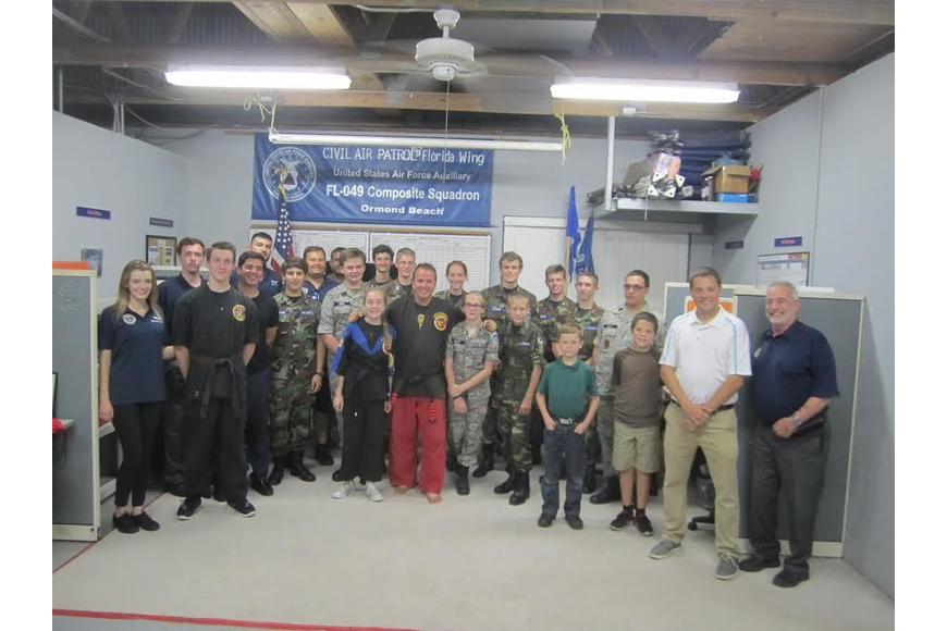 Group picture with the squadron. Photo courtesy Civil Air Patrol