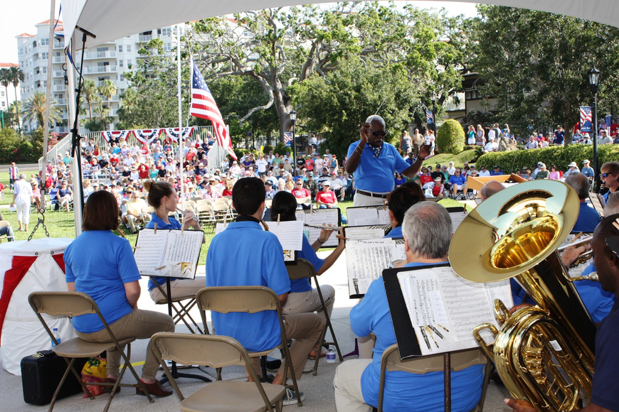 The Daytona Beach Concert Band, conducted by Charles Long, played as the crowd arrived. Photos by Wayne Grant