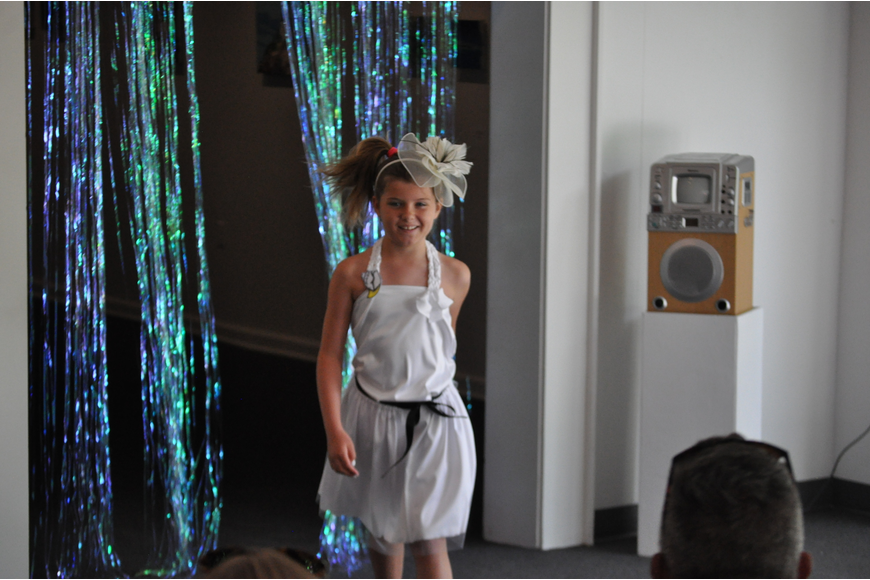 Maya Swiercynski, 8, during the Fashionista Camp fashion show on June 30, at the Ormond Memorial Art Museum.