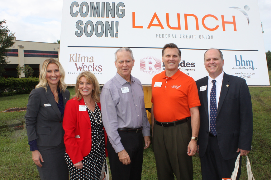 Shown at the ribbon cutting are Heather Post, county commissioner; Debbie Cotton, president, Ormond Beach Chamber of Commerce; Dwight Selby, city commissioner; Joe Mirachi, CEO of Launch; and Mayor Bill Partington. Wayne Grant