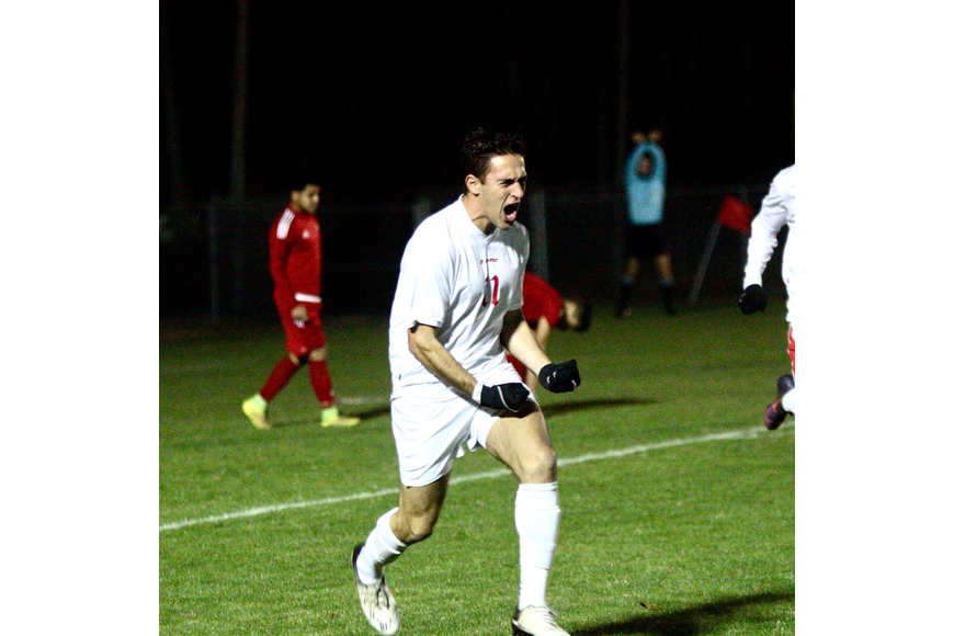 Seabreeze's Franco Perez celebrates after scoring a goal. Photo by Ray Boone