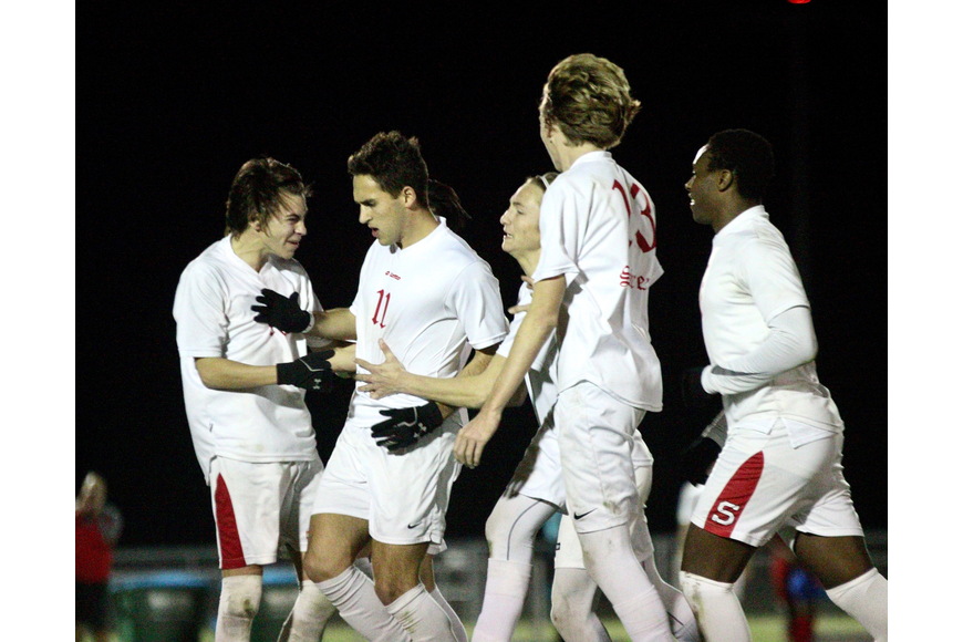 Seabreeze players celebrate after Franco Perez's (No. 11) goal. Photo by Ray Boone