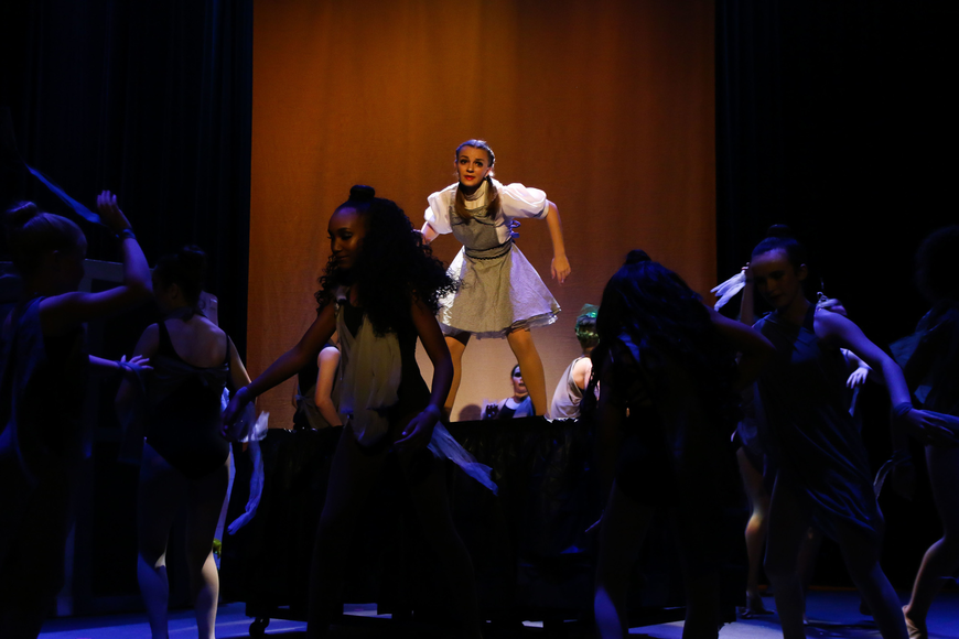 Dororthy, played by Lynne Rosolino, stands in the middle of a dance