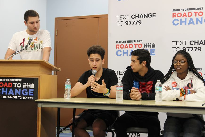 Moderator Alex Wind looks on as Amit Dadon answers a question. Also pictured are Ryan Servaites and Aalayah Eastmond. Photo by Jarleene Almenas