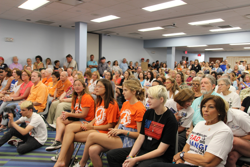 About 200 people showed up to the Road for Change tour stop by March for Our Lives at the Daytona Beach Regional City Island Library on July 15. Photo by Jarleene Almenas
