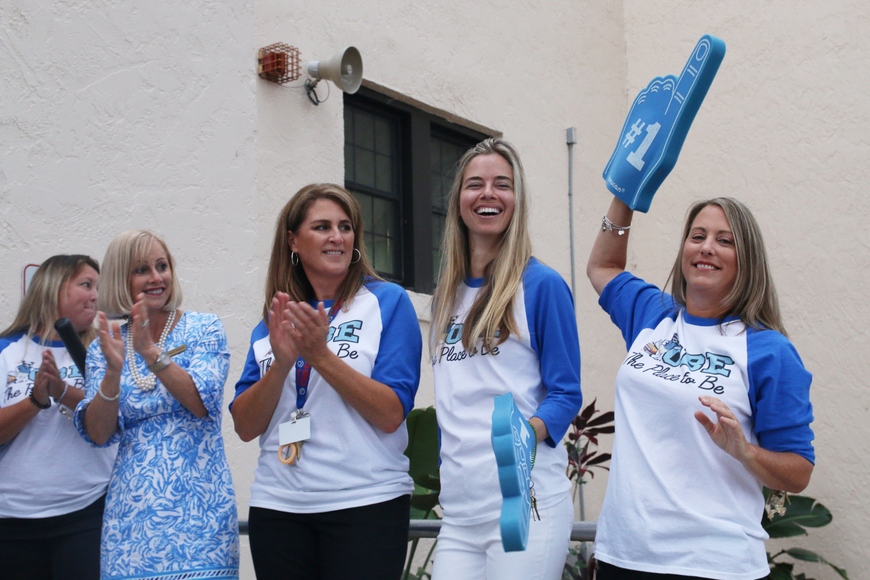 Teacher Debbie Gibbens, Past Principal Susan Persis, Media Clerk Joelle Harris and Teachers Lauren Lohmann and Michele Tomlinson welcome students on the first day of school at Ormond Beach Elementary on Monday, Aug. 13.