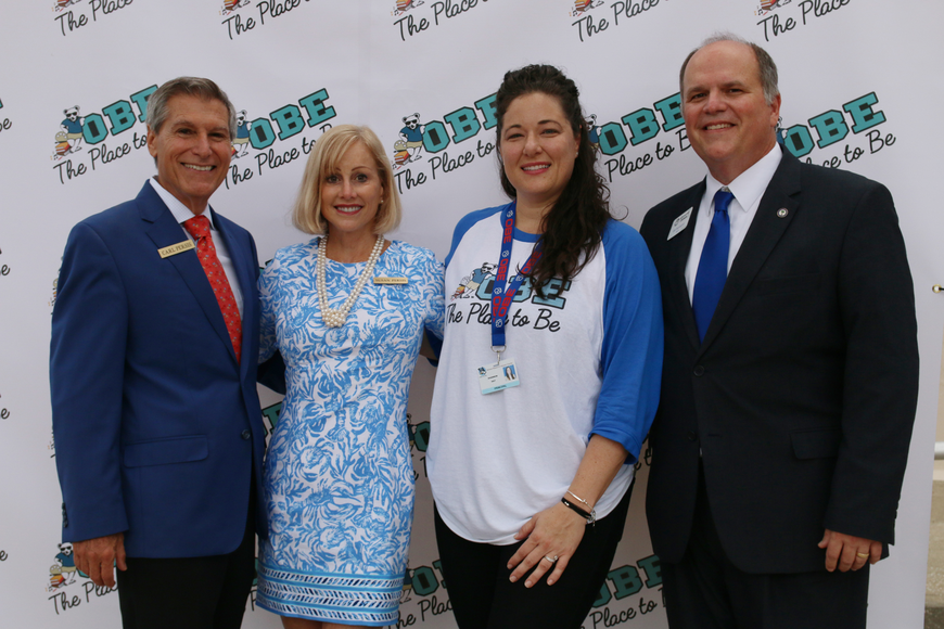 District 4 School Board Member Carl Persis, Past OBE Principal Susan Persis, Current OBE Principal Shannon Hayes and Ormond Beach Mayor Bill Partington  on the first day of school at Ormond Beach Elementary on Monday, Aug. 13.