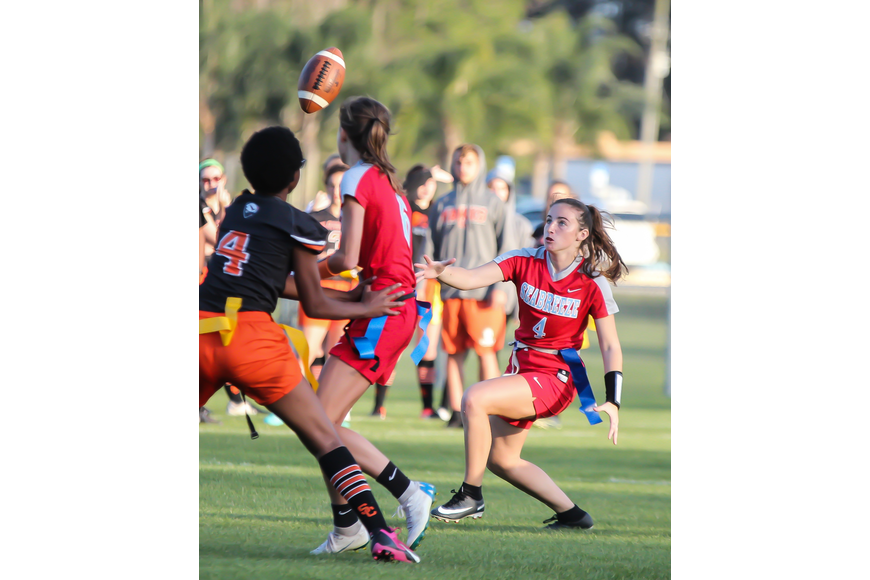 Seabreeze's Bailey McQuarrie dives to catch a lateral pass. Photo by Ray Boone