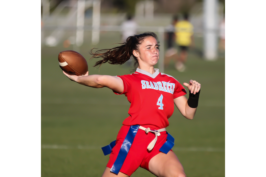 Seabreeze's Bailey McQuarrie throws a pass against Spruce Creek. Photo by Ray Boone