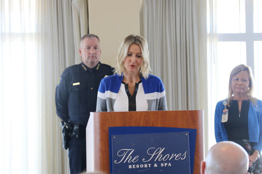 Volusia County Councilwoman Heather Post speaks at the Victims' Rights Week Breakfast & Awards Ceremony on Friday, April 12. Photo by Jarleene Almenas