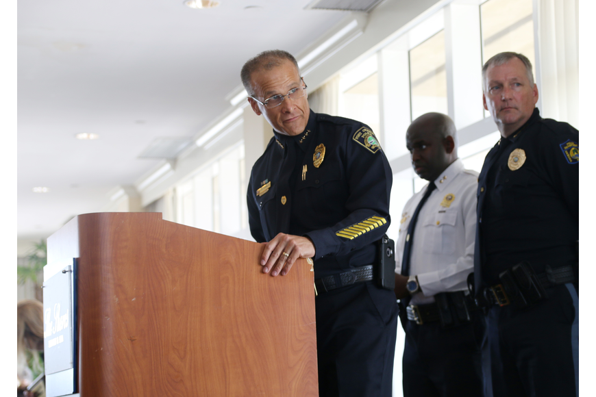 Port Orange Police Chief Thomas Grimaldi, Daytona Beach Police Deputy Chief Jakeri Young and Ormond Beach Police Chief Jesse Godfrey at the Victims' Rights Week Breakfast & Awards Ceremony on Friday, April 12.