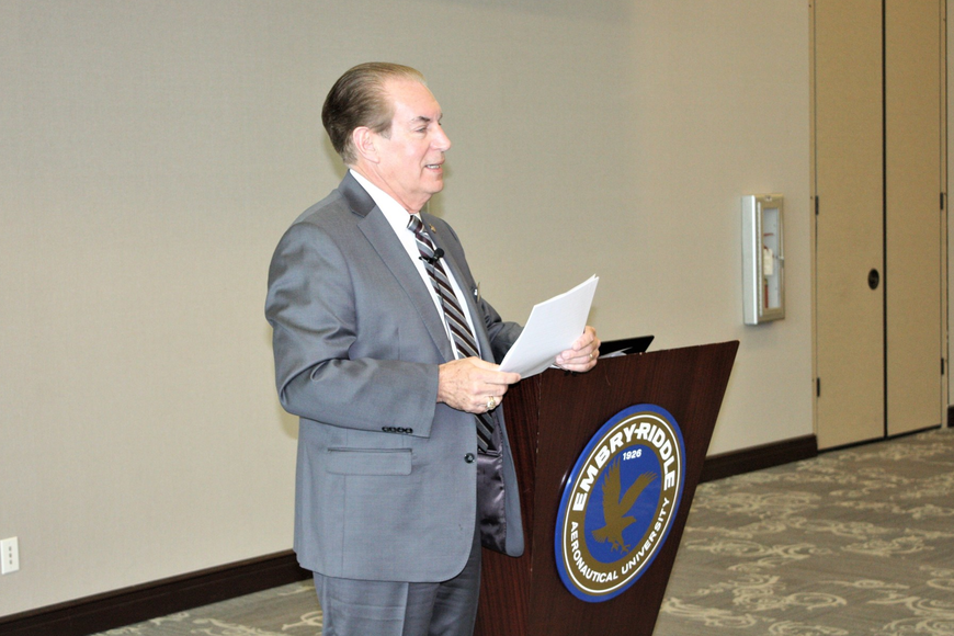 State Senator Tom Wright addresses the conference on the space industry Aug. 6. Photo by Wayne Grant