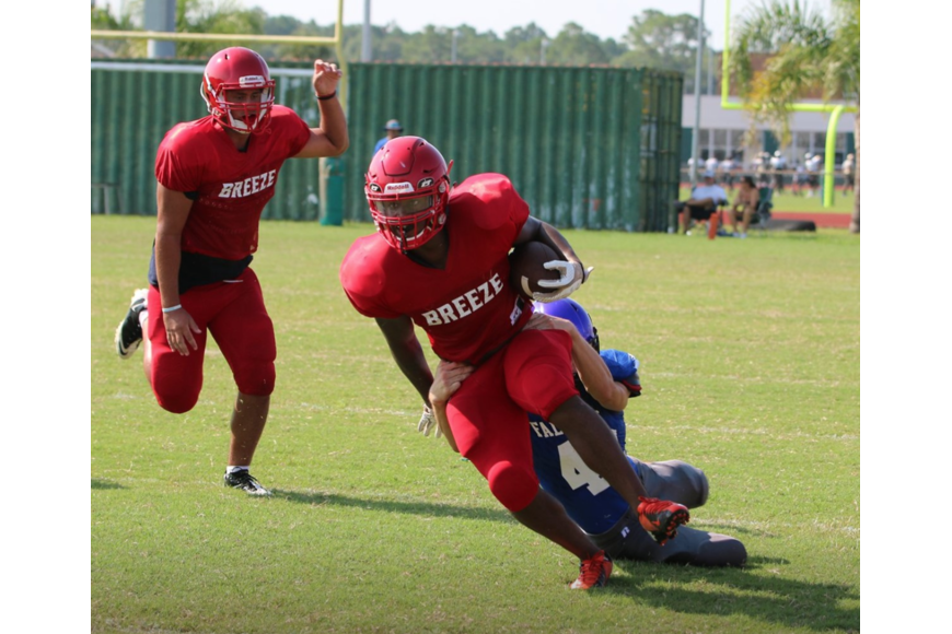 A Seabreeze player runs the ball down the sideline against Pedro Menendez. Courtesy photo