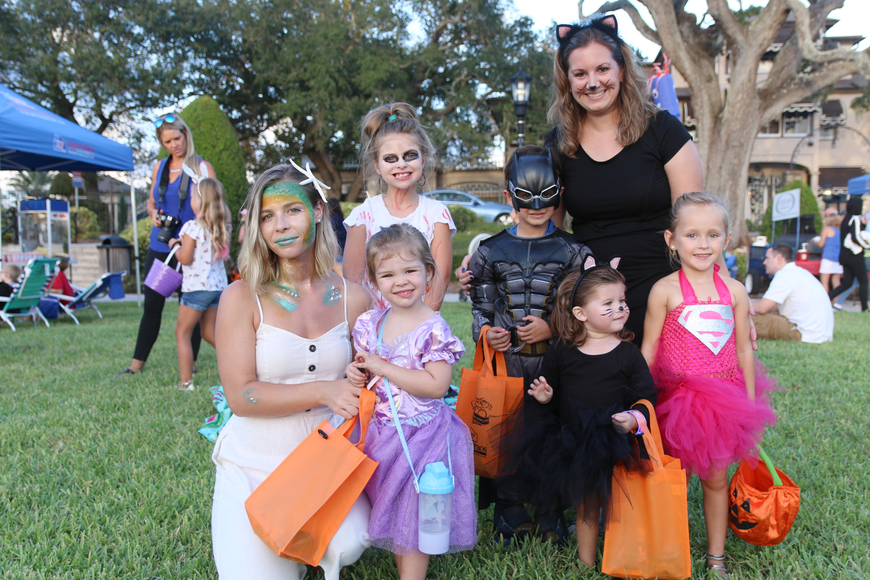 Emily  and Lucy Van Doorn, Bailey Sparkman, Thomas, Stephanie and Kailey Renick, and Addison Whiting all brought their costume A-game Rockefeller Gardens on Friday, Oct. 4. Photo by Jarleene Almenas