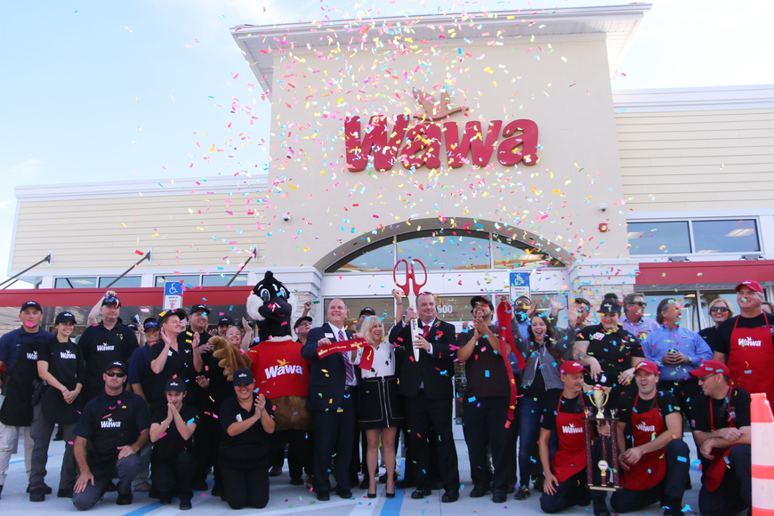 Wawa opened its doors on Thursday, Oct. 17, celebrating with a ribbon cutting and confetti canons. Photo by Jarleene Almenas