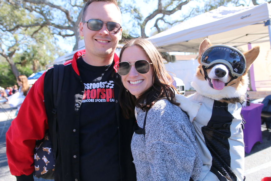 Mark and Jena Daniel, of Palm Coast, with Sir Archer Fuzzy Butt, who was the face of Dogapalooza 2020. Photo by Jarleene Almenas