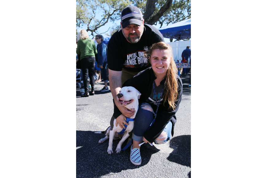 OBPD Sgt. Tom Larsen and his daughter Skylar, with their dog Mako at OMAM's Dogapalooza 2020 on Saturday, Jan. 25. Photo by Jarleene Almenas