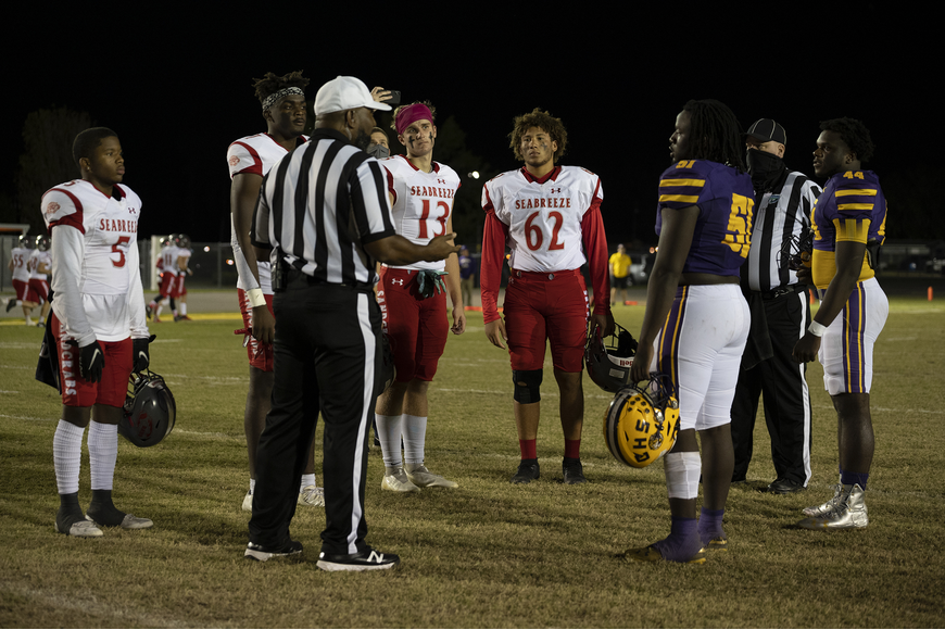 Coin toss goes to Seabreeze Sandcrabs. Photos by Michele Meyers