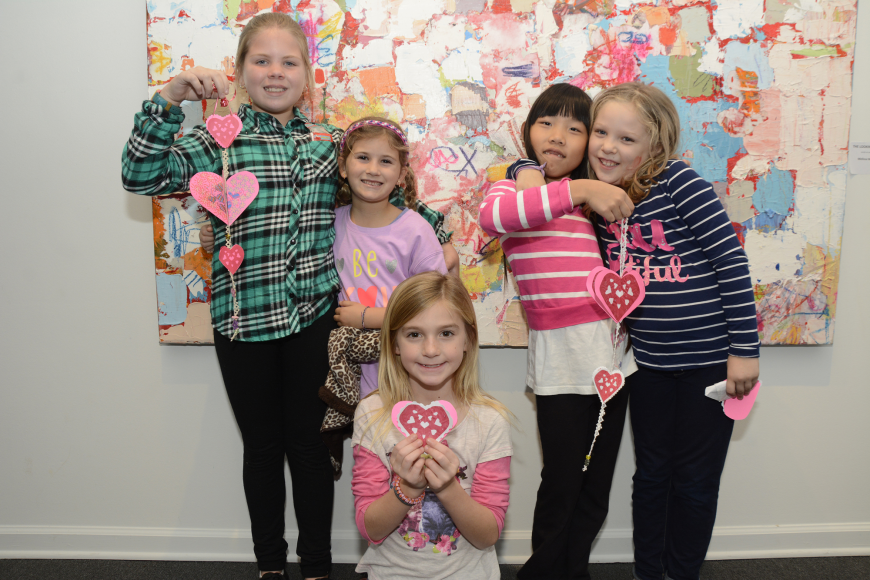 Ruby O'Keefe, Emma Moore, Layla Wilson, Gianna Zicalese and Charlotte Tews show off their finished Valentine Spinners.