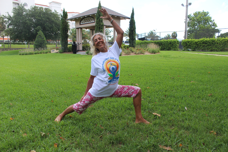 Jo Marine practicing some of her moves before the teaching dozens of people June 21 for International Day of Yoga (Photos by Emily Blackwood