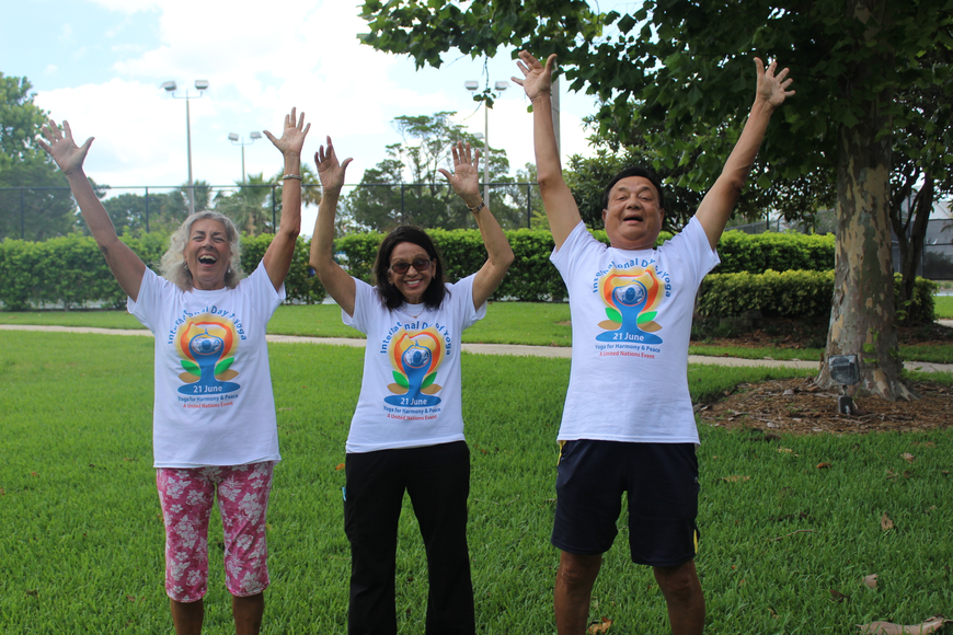 Jo Marine, Hansa Parikh and Madhu Parikh all try to practice laughing yoga as much as they can.