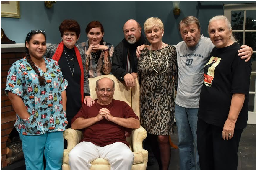Bruce Heighley with his cast and crew: Barry Kite, Tabitha Morales, Anji Brazell, Scarlett Moran, Jim Scott, Rosemary Shaw, and Christine Nestor