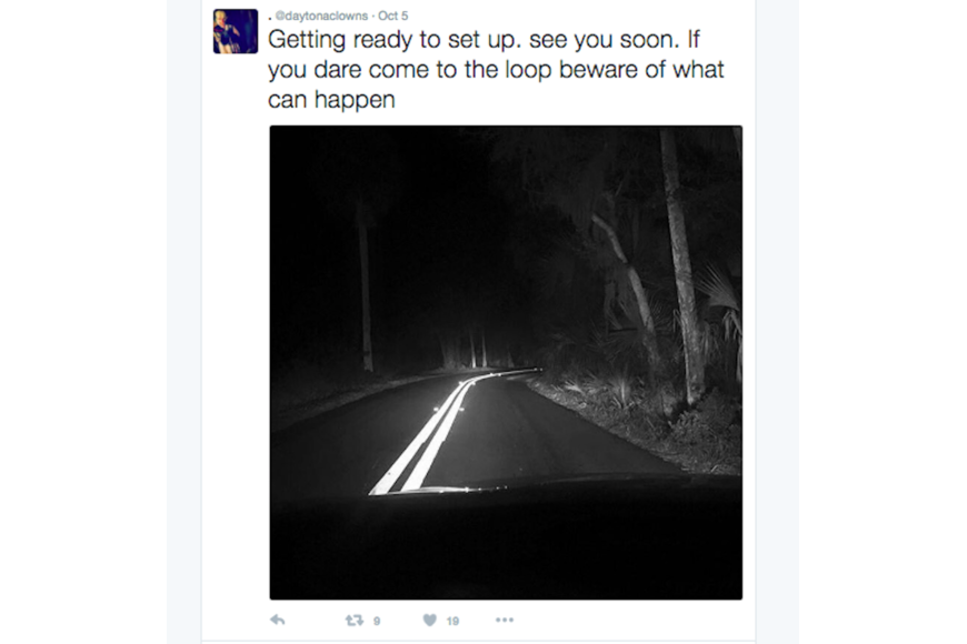 A photo of the Ormond Scenic Loop with a threatening caption was posted to the clowns' Twitter page.