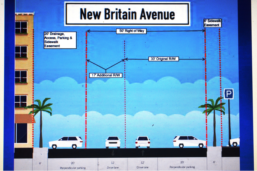 The city plans to widen New Britain Avenue and add parking. Courtesy photo