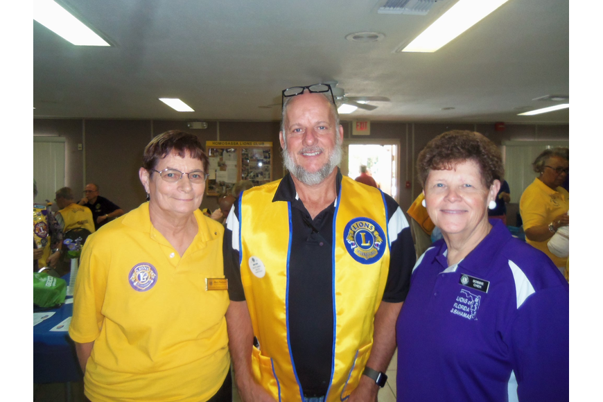 Lion Treasurer Mary Yochum, Greg Evans and Lion President Bobbie Cheh attended the district meeting in Homosassa, FL along with 130 Lions from across the region.